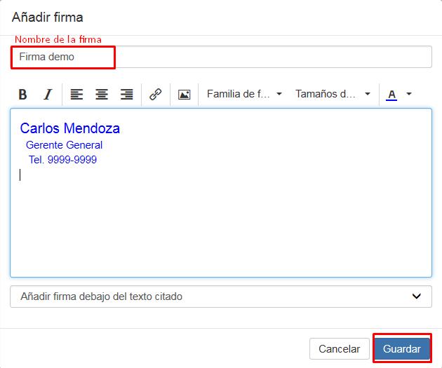 Crear firma en correo de negocios